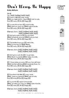 Don't Worry Be Happy for Ukulele - SUPER EASY beginner piece with school-appropriate lyrics. New favorite!!