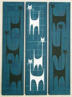 3 El Gato Gomez Paintings Retro Mid Century Modern Abstract Atomic Eames Cat 50s   eBay