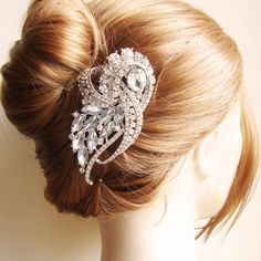 Vintage Style Wedding Bridal Hair Comb, Rhinestone Bridal Headpiece, Art Deco Style Hair Comb, Wedding Bridal Hair Accessories, BRIDGETTE. $75.00, via Etsy.