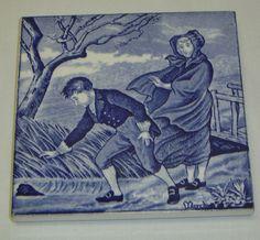 Antique Wedgwood Blue Transfer Tile Trivet Month Series March 19th C England   eBay
