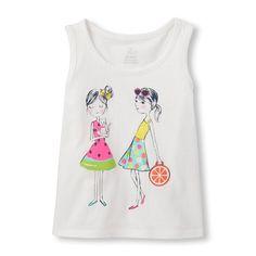 Toddler Girls Sleeveless Embellished Graphic Tank Top ss16