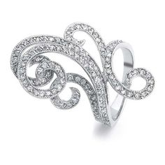 Bling Jewelry Great Gatsby Inspired Art Deco Swirl CZ Fashion Cocktail... ($47) ❤ liked on Polyvore featuring jewelry, rings, clear, cz rings, art deco ring, pave band ring, cz cocktail rings and cubic zirconia cocktail rings