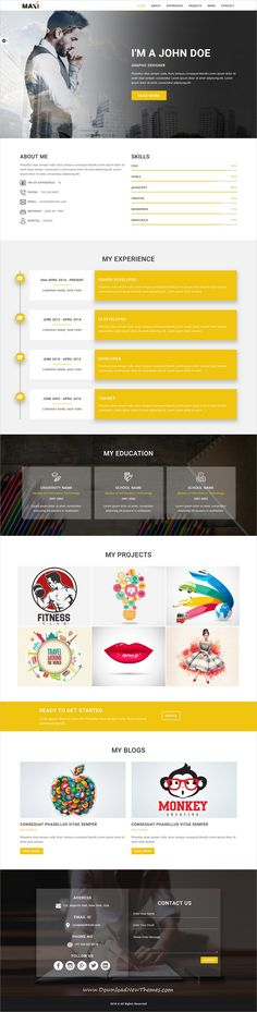Maxi is clean and modern design responsive multipurpose bootstrap HTML5 #template for creative #resume and #portfolio showcase website with 10 niche homepage layouts to live preview & download click on image or Visit #webdeveloper