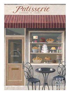 Cake Shop Design, Bakery Design, Shop Front Design, Illustration Mode, Food Illustrations, Vintage Bakery, French Bakery Decor, Buch Design, French Cafe