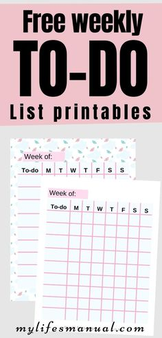 Grab these free to-do list printables. It is a weekly printables to help you organize your daily schedule.