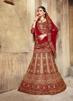 Women's Dupioni Raw Silk Fabric & Red Pretty A Line Lehenga Style With Lace Work Dupatta