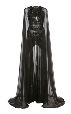 Zuhair Murad Embellished Cape-Sleeve Silk-Chiffon Gown in black Black Nightgown, Lace Dress Black, Pretty Outfits, Pretty Dresses, Ball Dresses, Ball Gowns, Buy Dress, Dress Up, Bodycon Dress