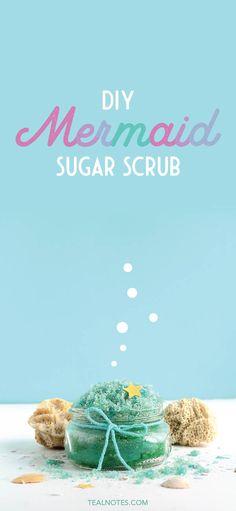 Mermaid Sugar Scrub DIY Recipe With Free Printable Labels Sugar Scrub Homemade, Homemade Lip Balm, Sugar Scrub Recipe, Lip Scrubs, Sugar Scrubs, Salt Scrubs, Lemon Body Scrubs, Lavender Sugar Scrub, Lip Balm Recipes