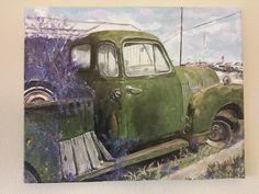 Abandoned car  Acrylic on canvas - mixed media  Inez Ribeiro