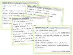 GAMMES DE LECTURE - lire par groupes de sens | Caracolus | Bloglovin'