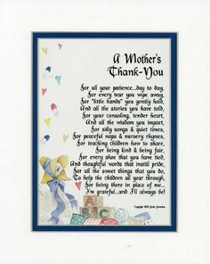 A Gift For A Daycare Provider Or Pre-school Teacher. Touching 8x10 Poem, Double-matted in White Over Blue And Enhanced With Watercolor Graphics.:Amazon:Home & Kitchen