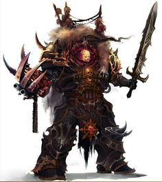 Abaddon the Despoiler in his panoply of Chaos; archaic Cataphractii Pattern Terminator Armour, the Lightning Claw Talon of Horus, and his fell Daemon Sword Drach'nyen.