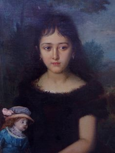 """""""Child with a doll"""", Adrien Moreau (1843-1906)"""