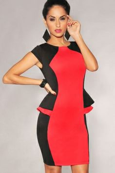 e5258d7e2ce5 Black Red Color-Block Peplum Sides Dress