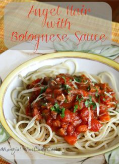 Vegetable Bolognese Sauce with Angel Hair Pasta for any meatless meal. Click thru for easy recipe. #vegetarian #pasta #dinner