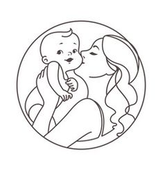 Logotype mother with newborn baby on hands vector – Bill Cline Baby Drawing Easy, Mom Drawing, Drawing For Kids, Art Drawings Sketches, Love Drawings, Easy Drawings, Mother And Baby Tattoo, Baby With Mother, Mother And Daughter Drawing