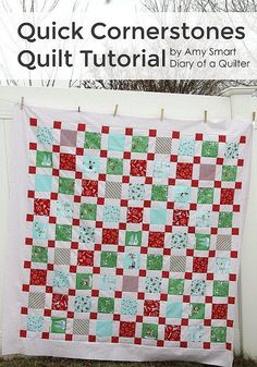 A fast and easy free tutorial for a quilt made with short-cuts, creates this cute quilt that perfectly features novelty prints anchored by cornerstones. Baby Quilt Tutorials, Quilting Tutorials, Quilting Projects, Sewing Projects, Quilting Tips, Sewing Tutorials, Quilting Board, Sewing Tips, Sewing Ideas