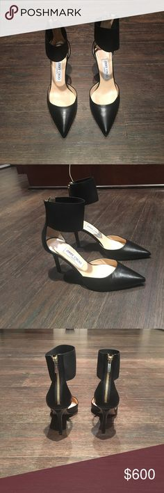 Jimmy Choo Trinny heels Jimmy Choo Trinny heels - size 6 - never worn outside the house - like new condition bottom is little scuffed but that is it no signs of wear anywhere else - comes with box Jimmy Choo Shoes Heels