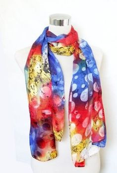 "Chiffon/Satin Tie Dye Blue/Red Polka Dot Print - Silk Long Scarf 22"" x 70"" Silkcharm. $25.95"