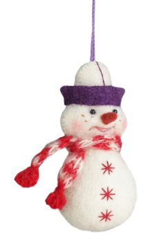 Snowman/ Ayaz Ata mobile toy. Hand embroidery, hand gathering. 8*5*2 cm.