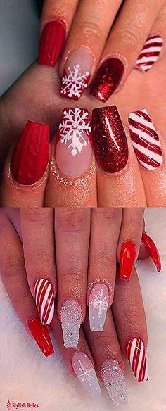 I love those red Christmas nails! Xmas Nail Art, Cute Christmas Nails, Holiday Nail Art, Xmas Nails, Christmas Nail Art Designs, Red Nails, Glitter Nails, Acrylic Nail Designs, Acrylic Nails