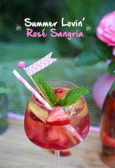 Summer Lovin' Rosé Sangria recipe by Maren Swanson. #rosewine #sangria #recipe