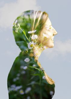 A different kind of self-portrait created using a double exposure in the studio and the subject's favorite flower.