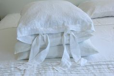 Linen pillowcase, standard, queen, king, euro sham with two ties stonewashed made by mooshop