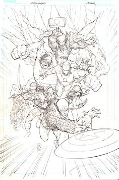 AVENGERS ASSEMBLE COVER #1 - Comic Art Work By Marc Silvestri