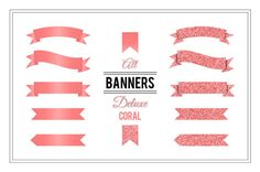 Banner Clip Art  Deluxe Coral  Glitter by MaishopDigitalArt
