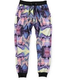 Get stand out style with a unique watercolor sublimated print with a gusseted drop crotch and elastic ankle cuffs for classic jogger styling.