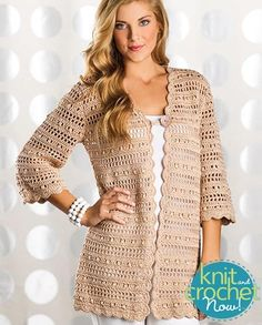 Free crochet Uptown Chic Cardigan pattern download Design by Laura Gebhardt Featured in Season 6, episode 12, of Knit and Crochet Now! TV.