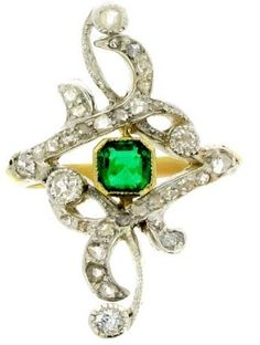 Art Nouveau Designs Free | Emerald and diamond Art Nouveau ring, circa 1895. Openworked ring set ...