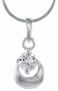 "High Polished Sterling Silver 5/8 inch (16 mm) tall Matte-finish Fancy Loop Pendant, w/ 5mm Brilliant Cut CZ Stone, w/ 18"" Thin Box Chain Sabrina Silver. $35.54"