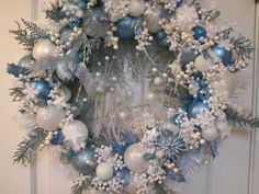 Light Blue and White Heirloom Christmas Wreath, Ornament Wreath ...