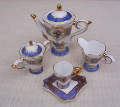 Miniature Tea 5 pieaces Set vintage from by thesecretcupboard, $25.00