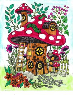 Blissful Scenes Illustrated By Hasby Mubarok Mushroom Drawing, Mushroom Art, Colorful Drawings, Easy Drawings, Animal Drawings, Horse Drawings, Colored Pencil Techniques, Hippie Art, Rock Crafts