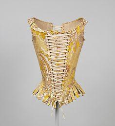 Corset (Italian) of yellow printed silk, circa 1770. Metropolitan Museum of Art