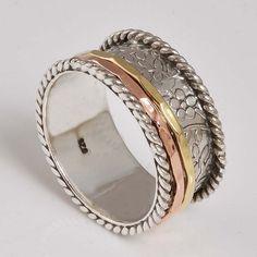 FOR SELL 925 STERLING SILVER EXCLUSIVE SPINNER RING 6.67g DJR7907 S-9.5 #Handmade #SpinnerRing