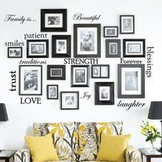 Family Wall Decor, Family Tree Wall Decal, Family Picture Walls, Family Photos, Family Pictures On Wall, Photo Wall Decor, Vinyl Wall Stickers, Wall Decal Sticker, Wall Vinyl