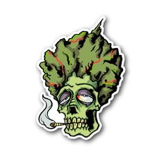 Budda Skull Smoking Marijuana Vinyl Sticker