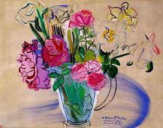 pinkpagodastudio: Joyful Color: Painter and Textile Designer, Raoul Dufy… Henri Matisse, Art And Illustration, Art Floral, Raoul Dufy, Flower Vases, Flower Art, Art Fauvisme, André Derain, Guache