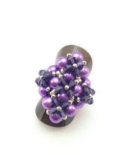 Chunky Bling Ring Purple And Silver Glass by XxxWithyouinmindxxX, £7.50