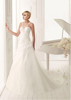 BEAUTIFUL ORGANZA SATIN A-LINE V-NECK NATURAL WAIST RUCHED BEADED WEDDING DRESS HANDMADE FLOWERS LACE APPLIQUES