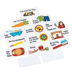 Teach Kids Responsibility Wall Chart/Reward Tracker; sample responsibilities