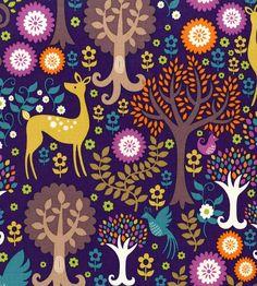 Retro, kitsch, birds, florals, fantasy, vintage print fabric Get Cutie