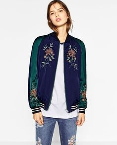 ZARA - TRF - EMBROIDERED REVERSIBLE BOMBER JACKET