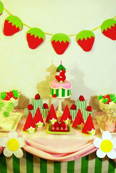 Strawberry Shortcake Birthday Dessert Table by Sweet Fix, via Flickr