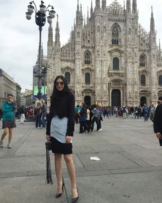 Magnificent Duomo, Milan Cathedral. PATINYA latest AW 15-16 cruising in the fashion capital. @patinyabkk @guitarpatinya #patinya #patinyabkk #fashion #dress #dresses #THAIDESIGNERS