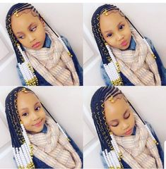 A selection of 50 kids braids with beads hairstyles to get your kids holiday ready. From kids braided updos with beads, to single braids with beads. Black Kids Hairstyles, Baby Girl Hairstyles, Kids Braided Hairstyles, African Braids Hairstyles, Curly Hairstyles, Hairstyles Videos, Crochet Braids Hairstyles For Kids, Young Girls Hairstyles, Childrens Hairstyles